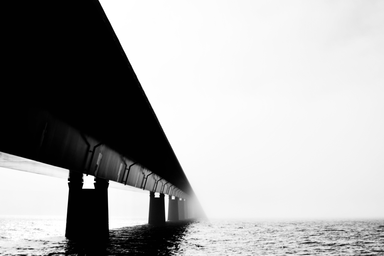 Foto d'estoc gratuïta de aigua, arquitectura, blanc i negre, boira