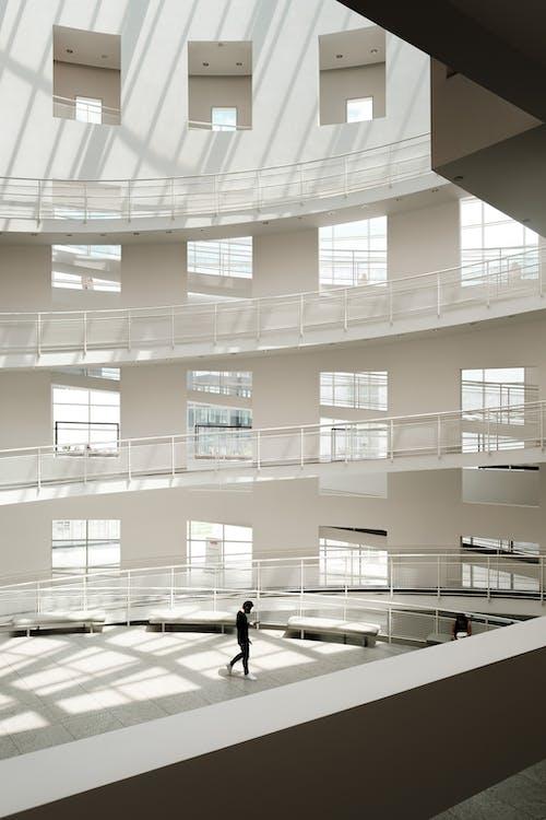 People Walking Inside White Building