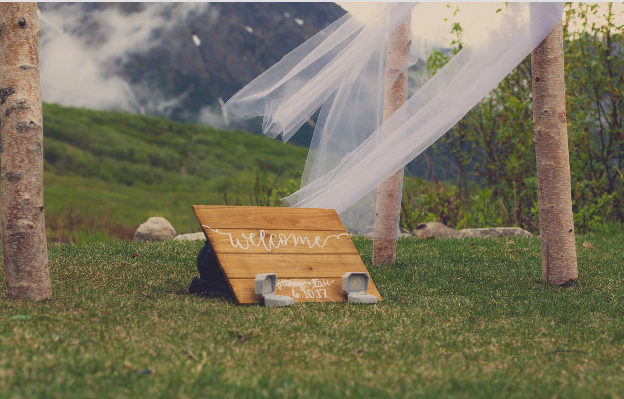 Welcome Printed Board on Grass