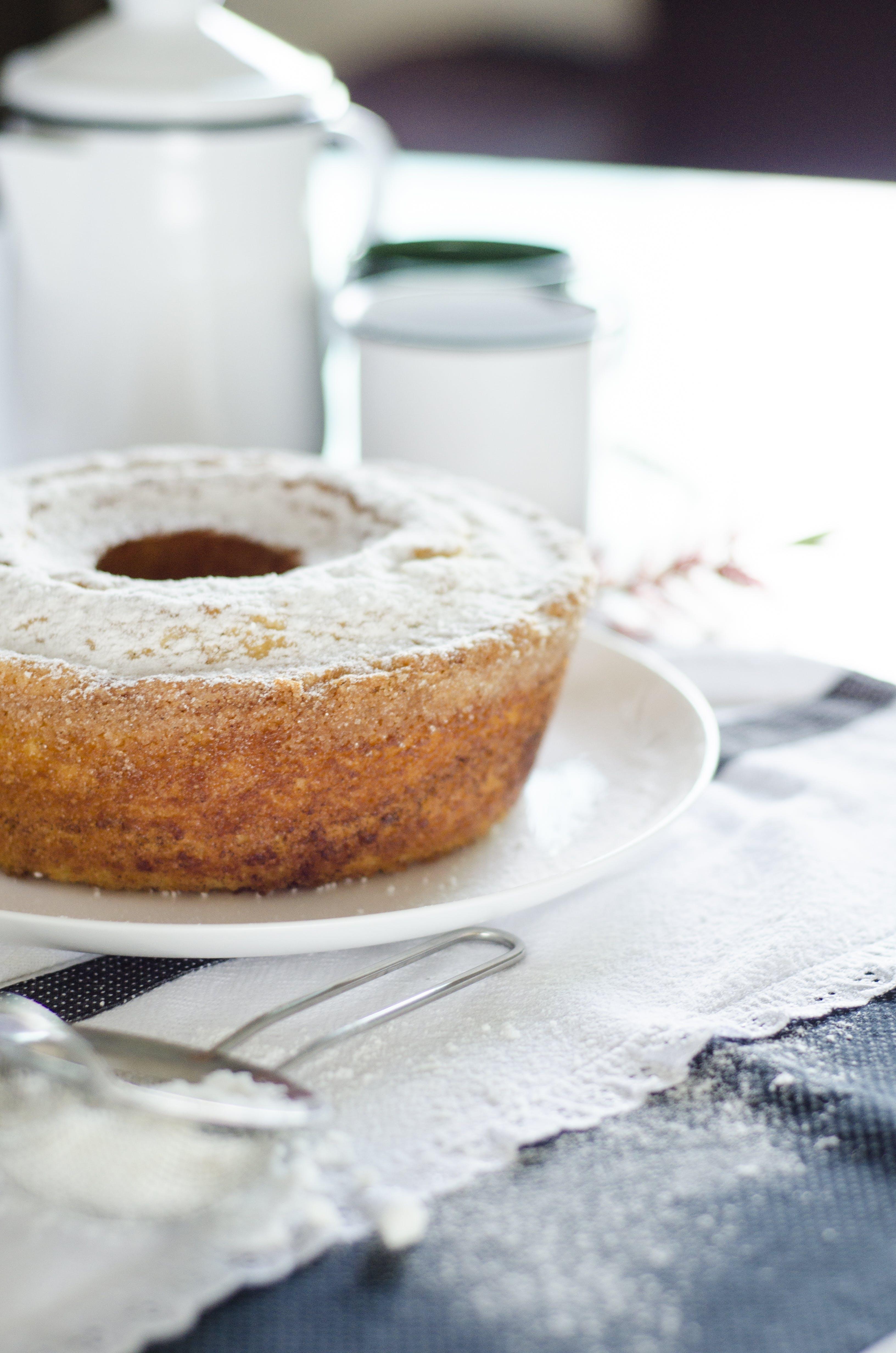 Donut on White Ceramic Plate