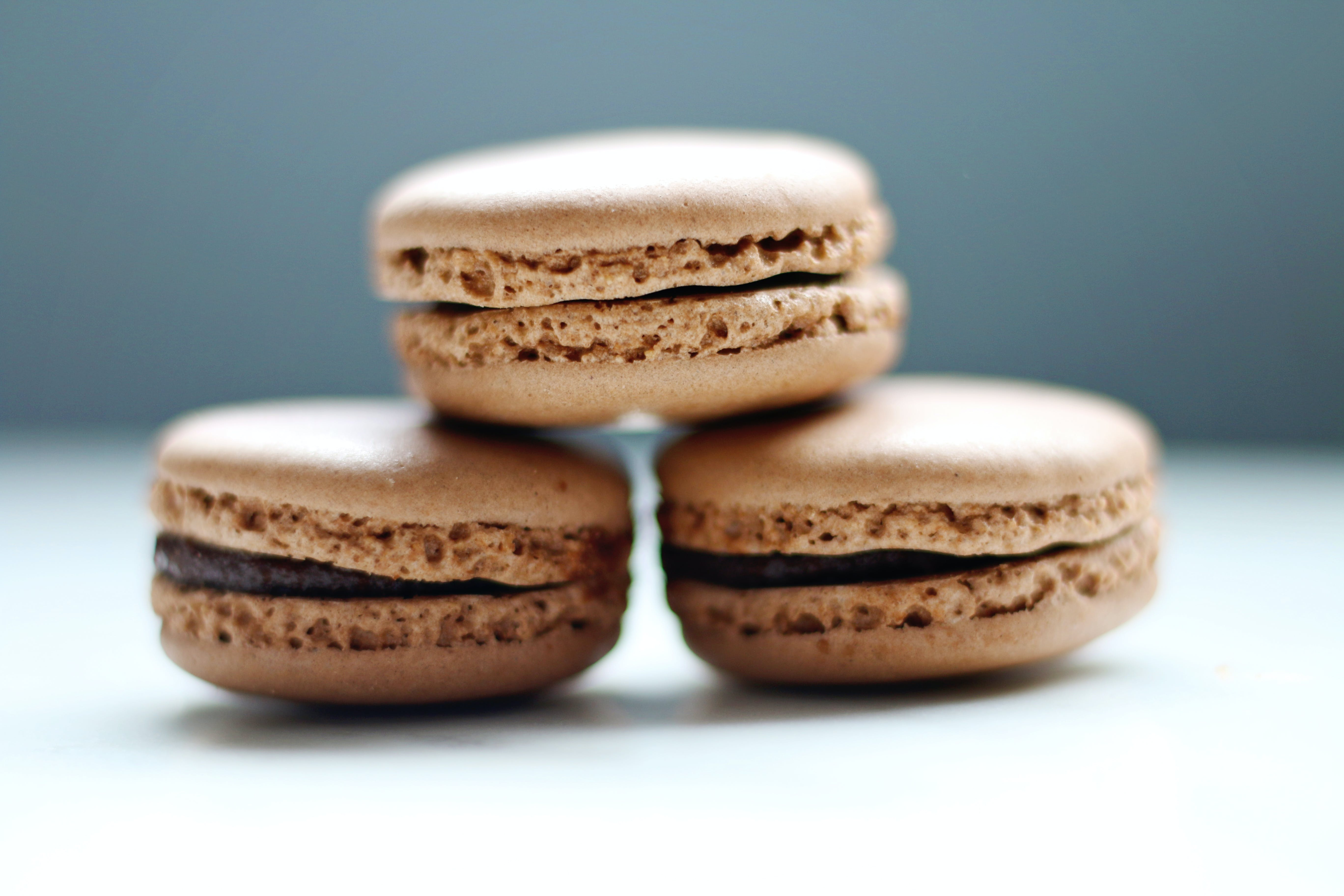 Selective Focus Photo of Three Macaroons