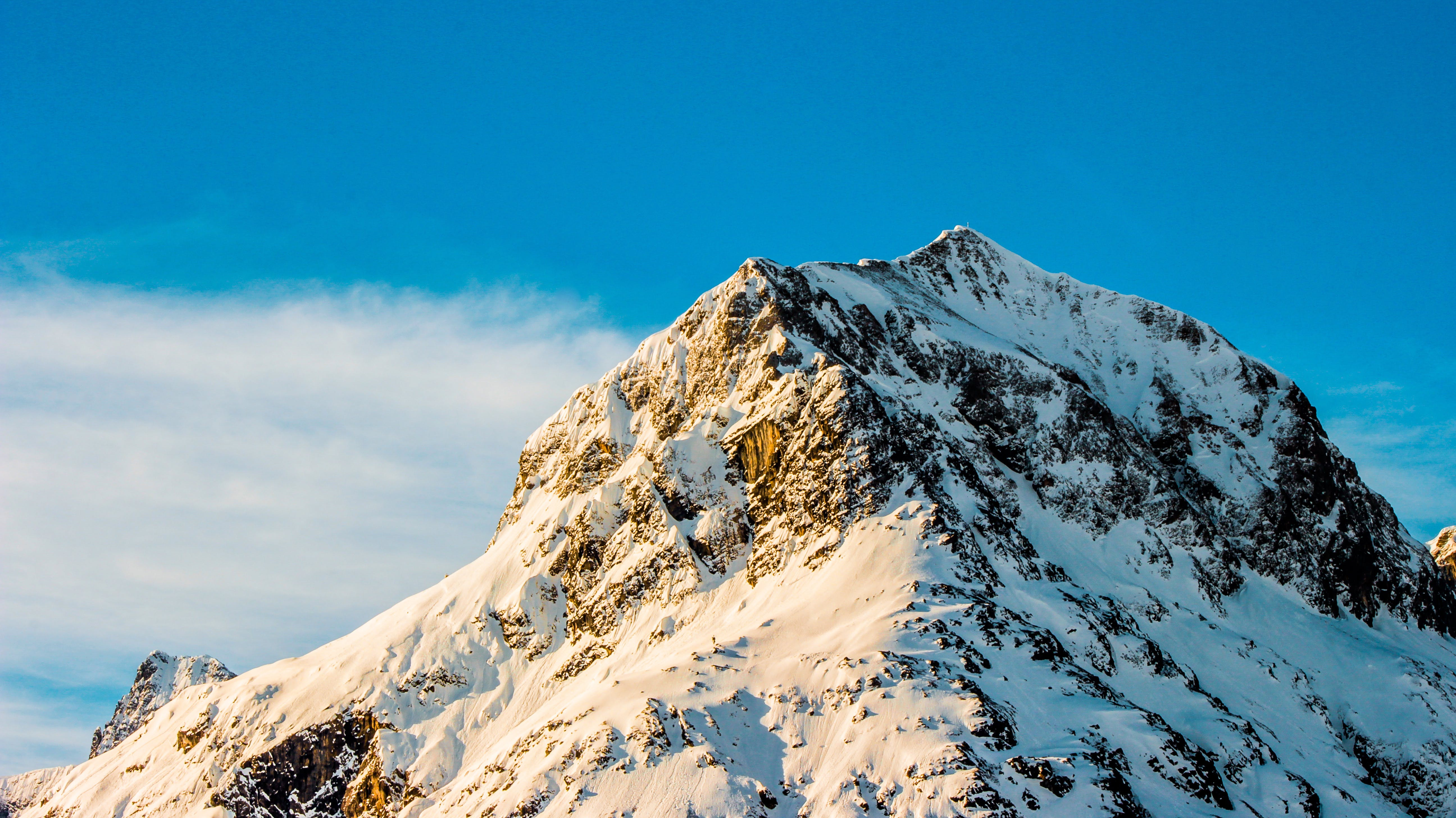 Snow Covered Mountain Under Clear Blue Sky