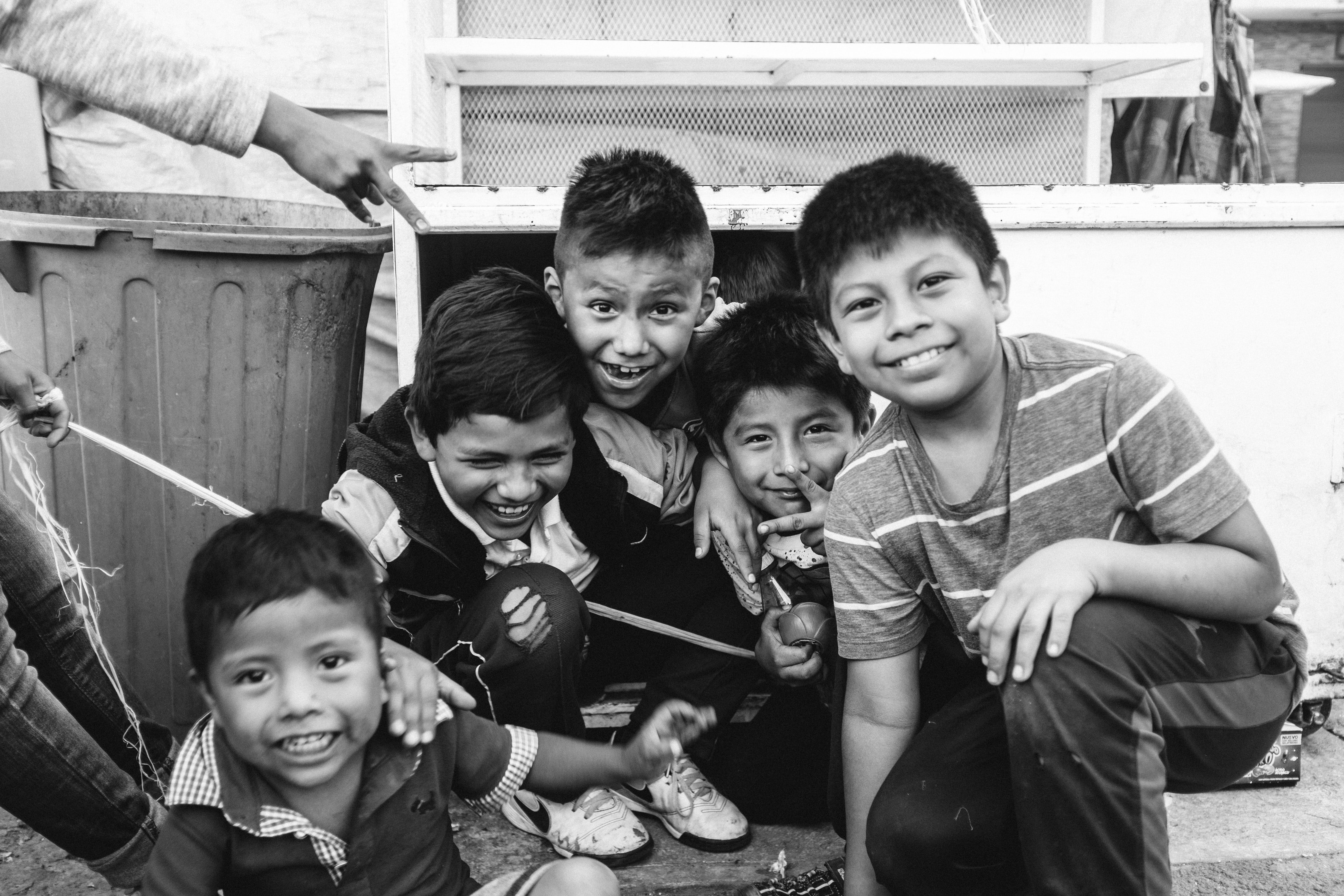 Grayscale Photo of Group of Children