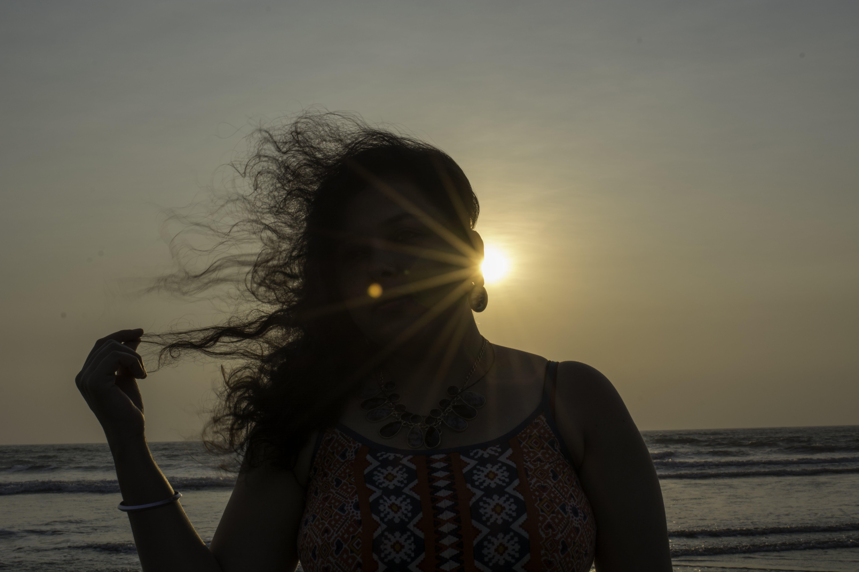 Free stock photo of beach, beautiful, curly hair, female