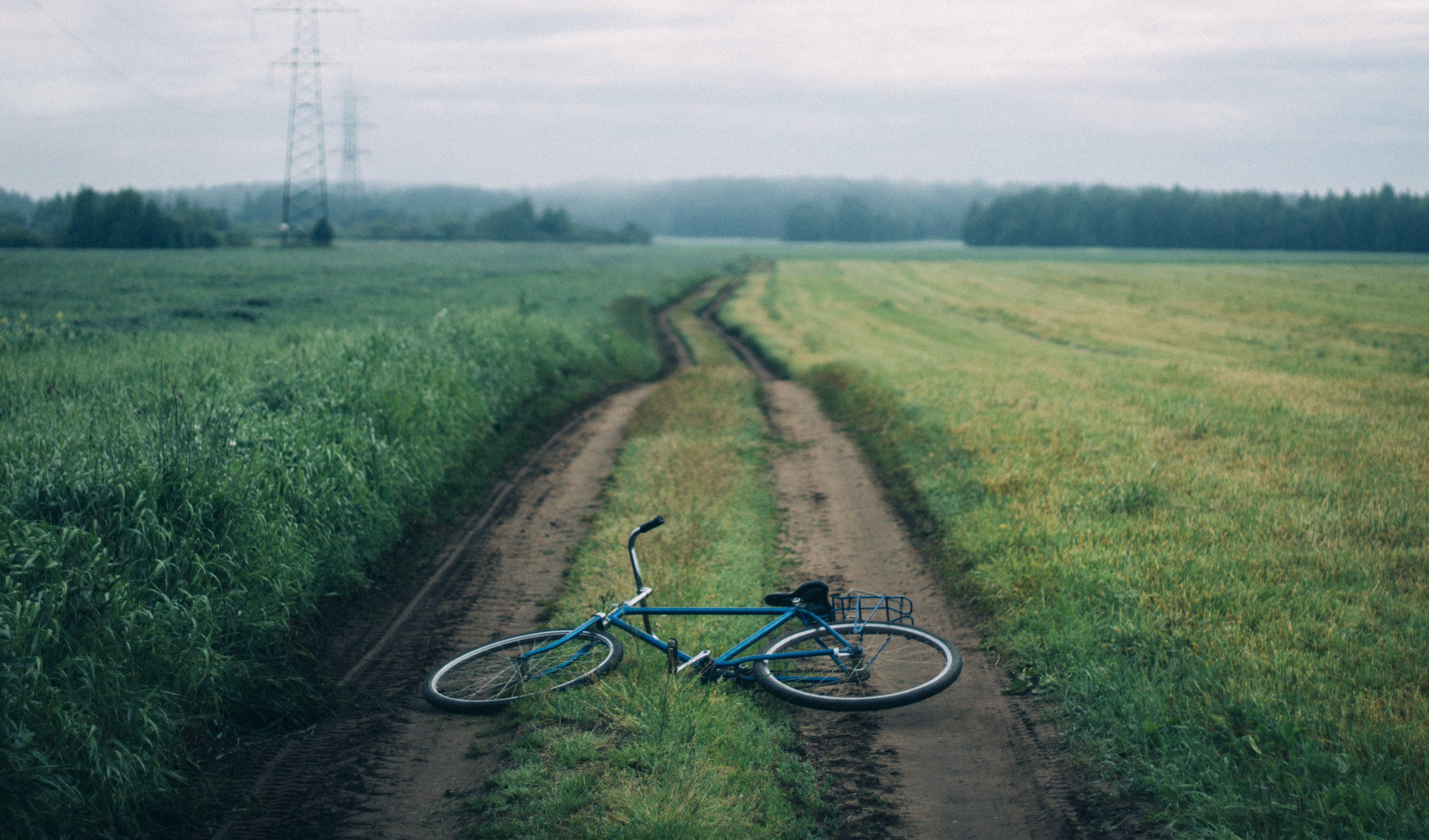 Landscape Photography of Blue Commuter Bike on Green Grass