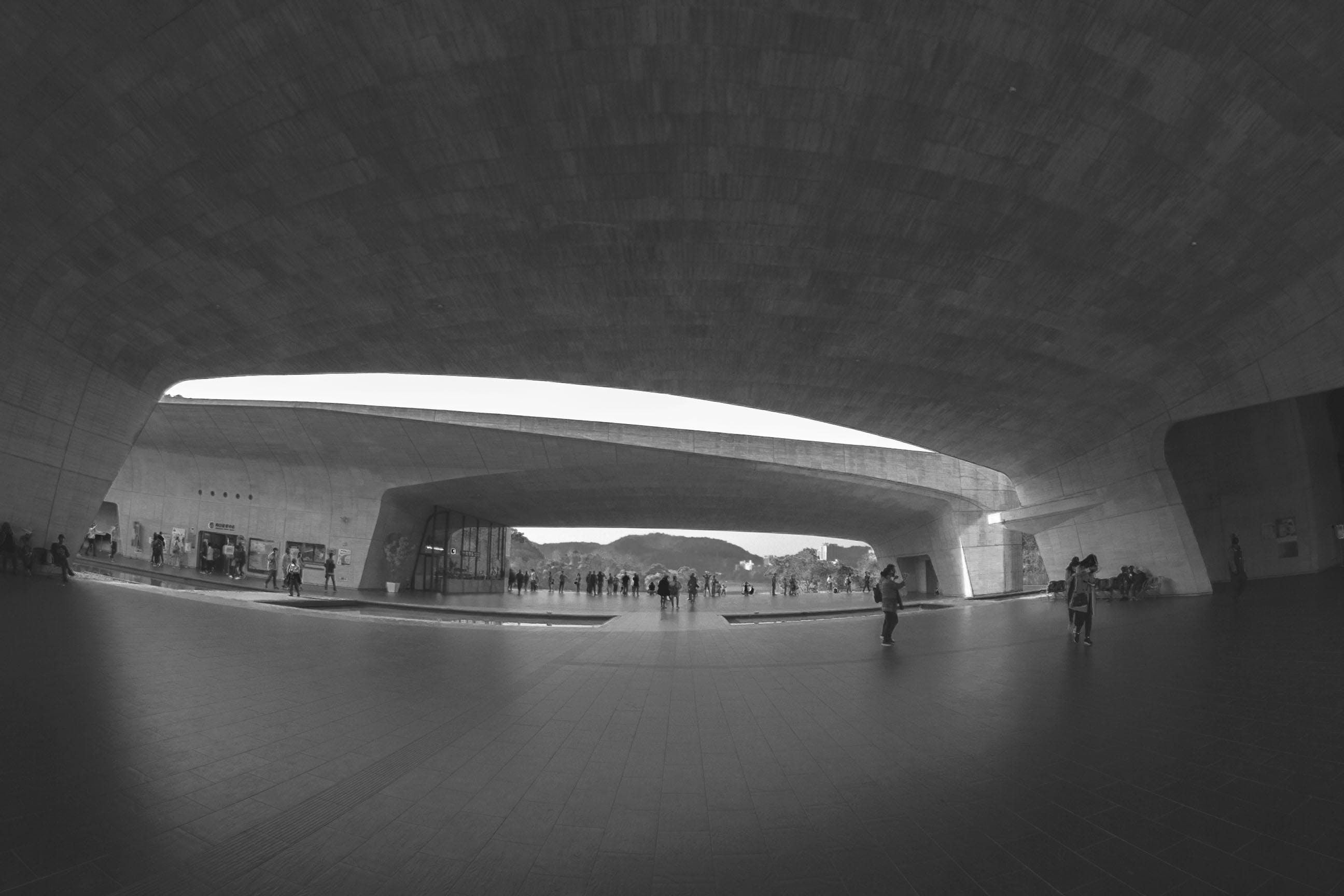 Grayscale Photography of Group of People Under Concrete Structure