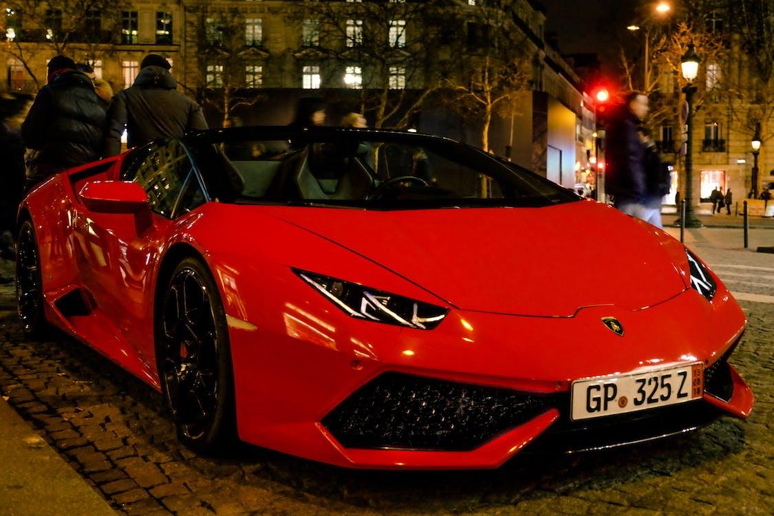 bil, Lamborghini, röd