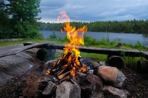 Безкоштовне стокове фото на тему «блакитна вода, вогонь, дерева, Кемпінг»