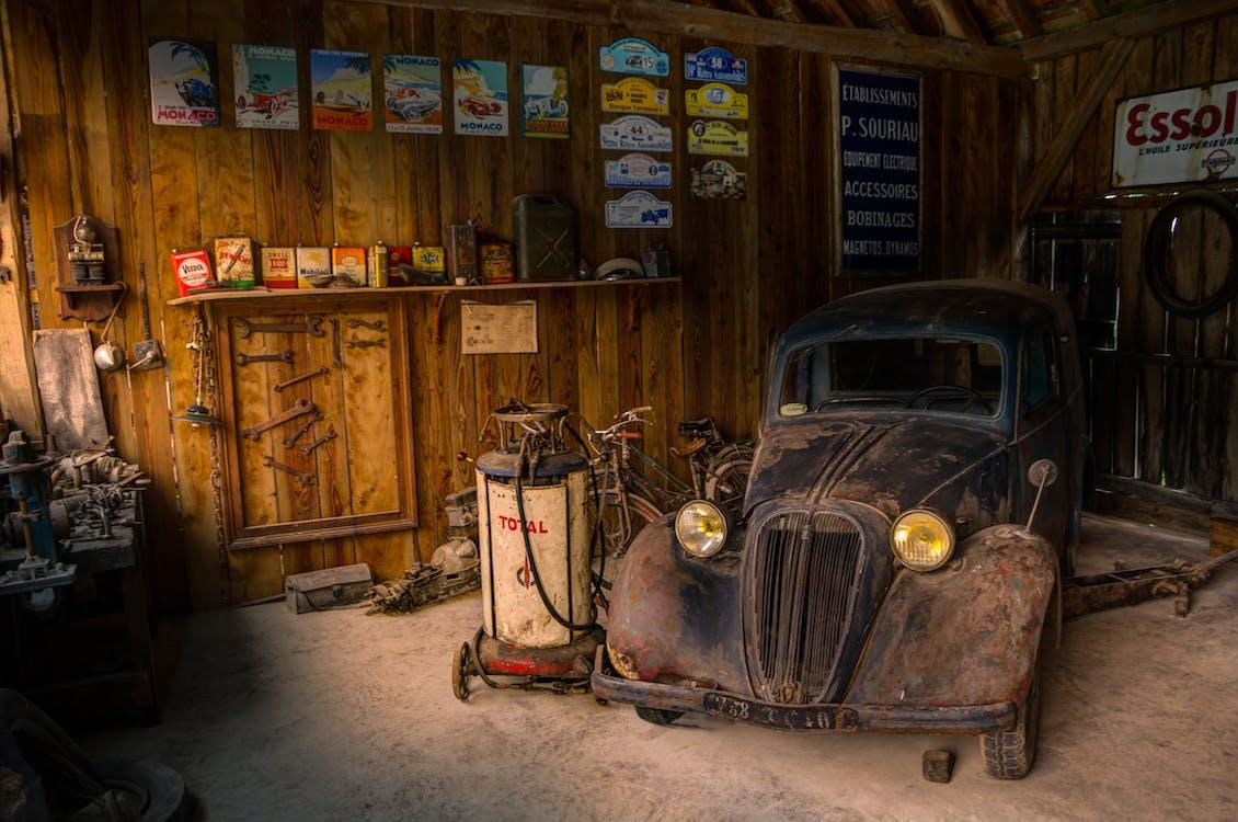 antiquité, automobile, garage