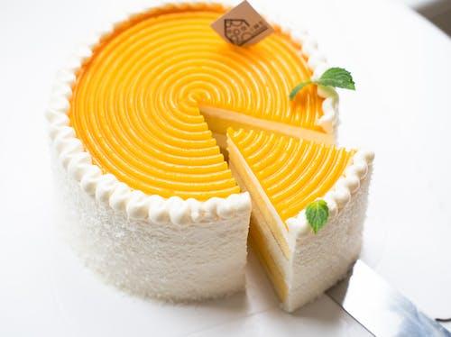 Yellow and White Round Cake
