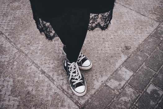 Person's Feet Wearing Black-and-white High-top Sneakers