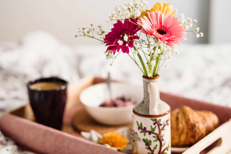 Pink and Yellow Gerbera Daisies in Vase