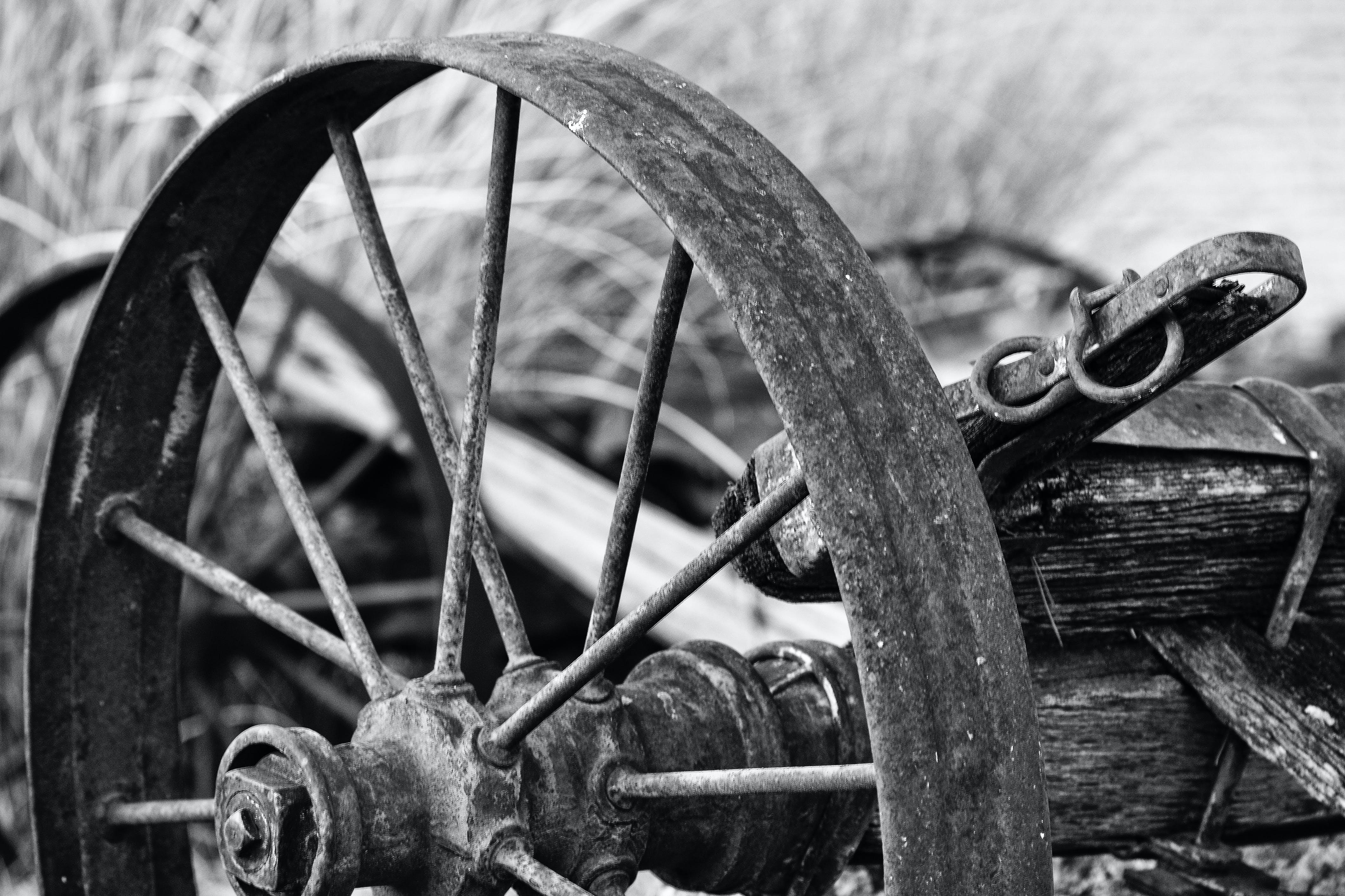 Rusted Wheel Grayscale Photo