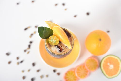 Beverage with Slices of Citrus Fruits