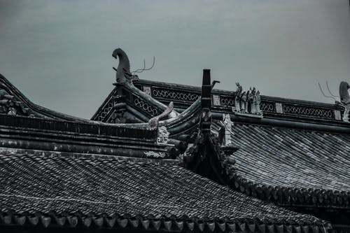 Black Roof with Dragon Statue