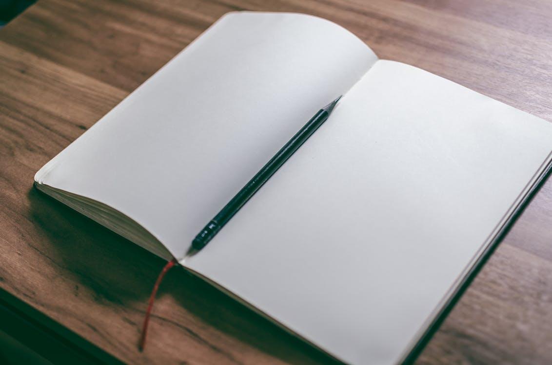 blanco, bloc de dibujo, bolígrafo