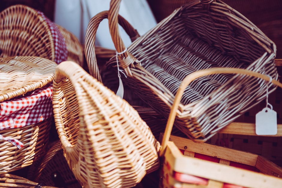 Stacked Brown Wicker Baskets