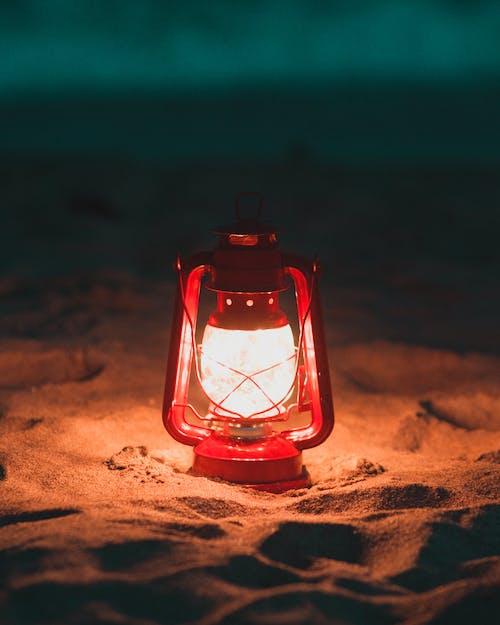 Red Lantern Lamp Turned on