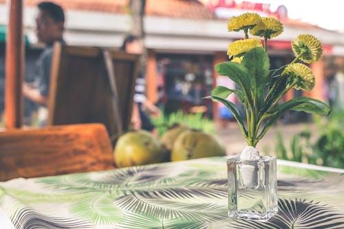 Yellow Flower Arrangement in Vase on Top of Table