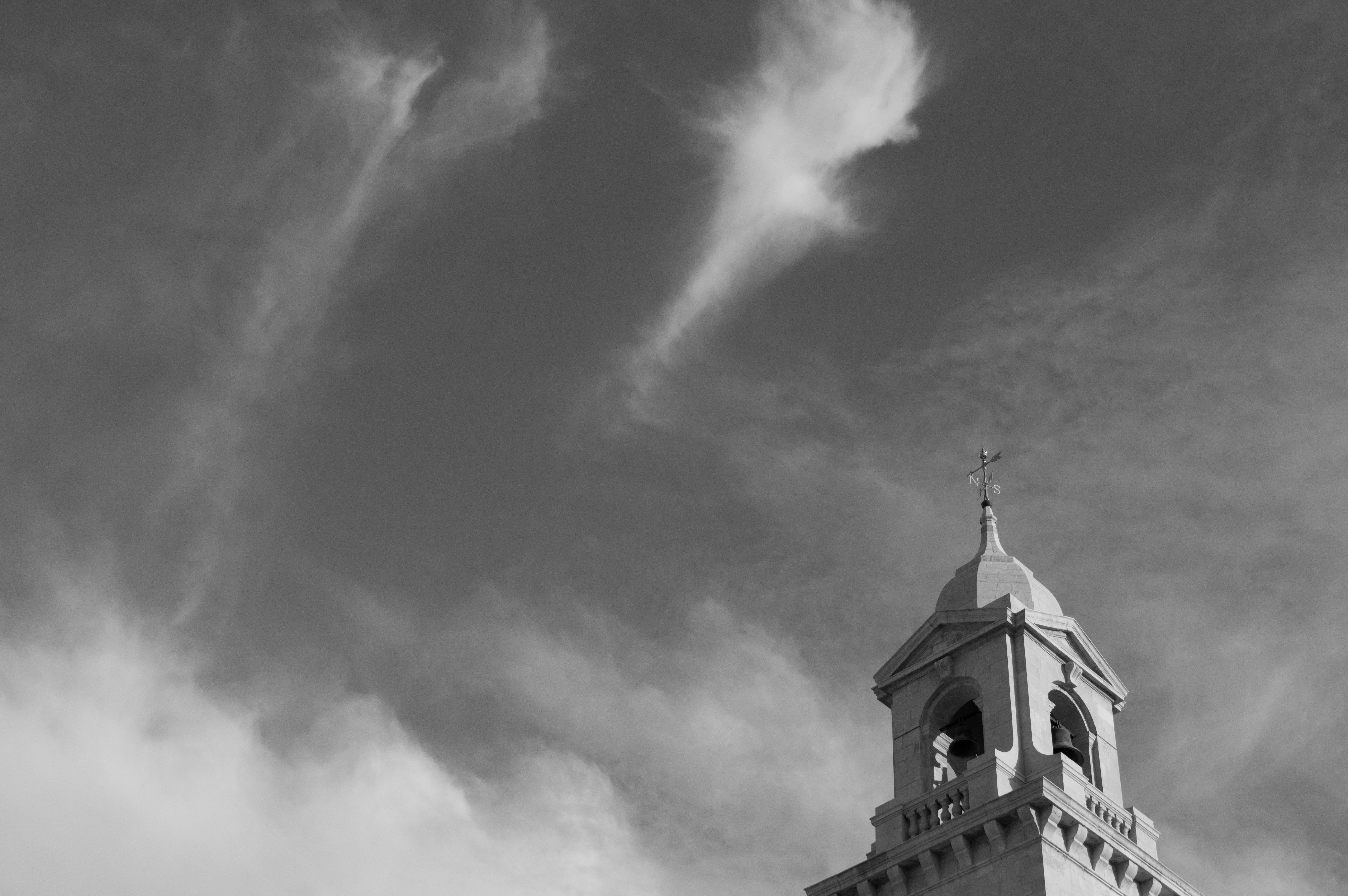 Grayscale Low Angle Photography of Cathedral