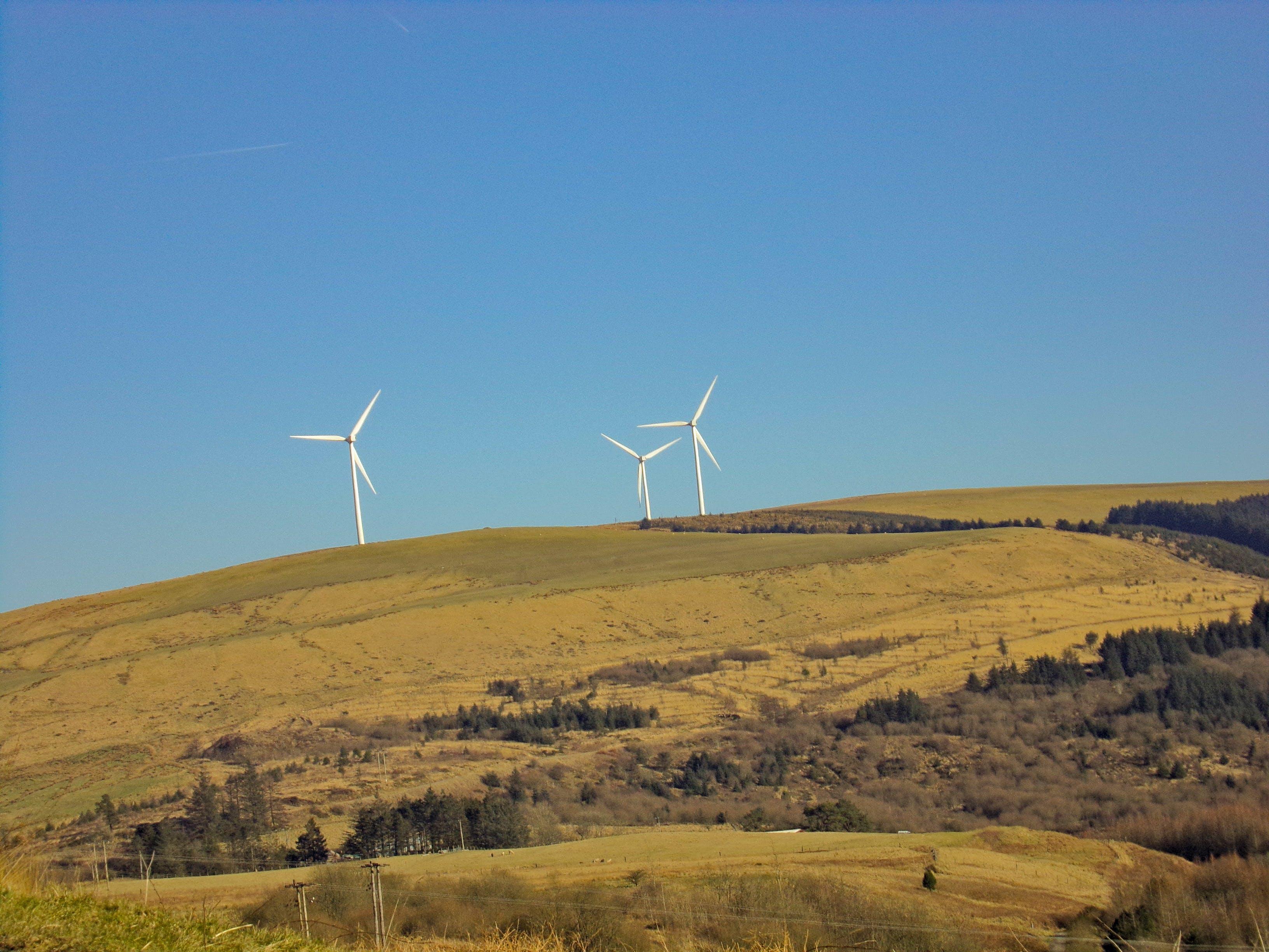 Three White Windmills on Green Field Under Blue Sky