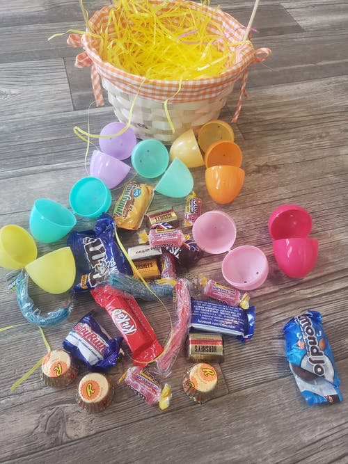 Free stock photo of basket, colored eggs, easter egg
