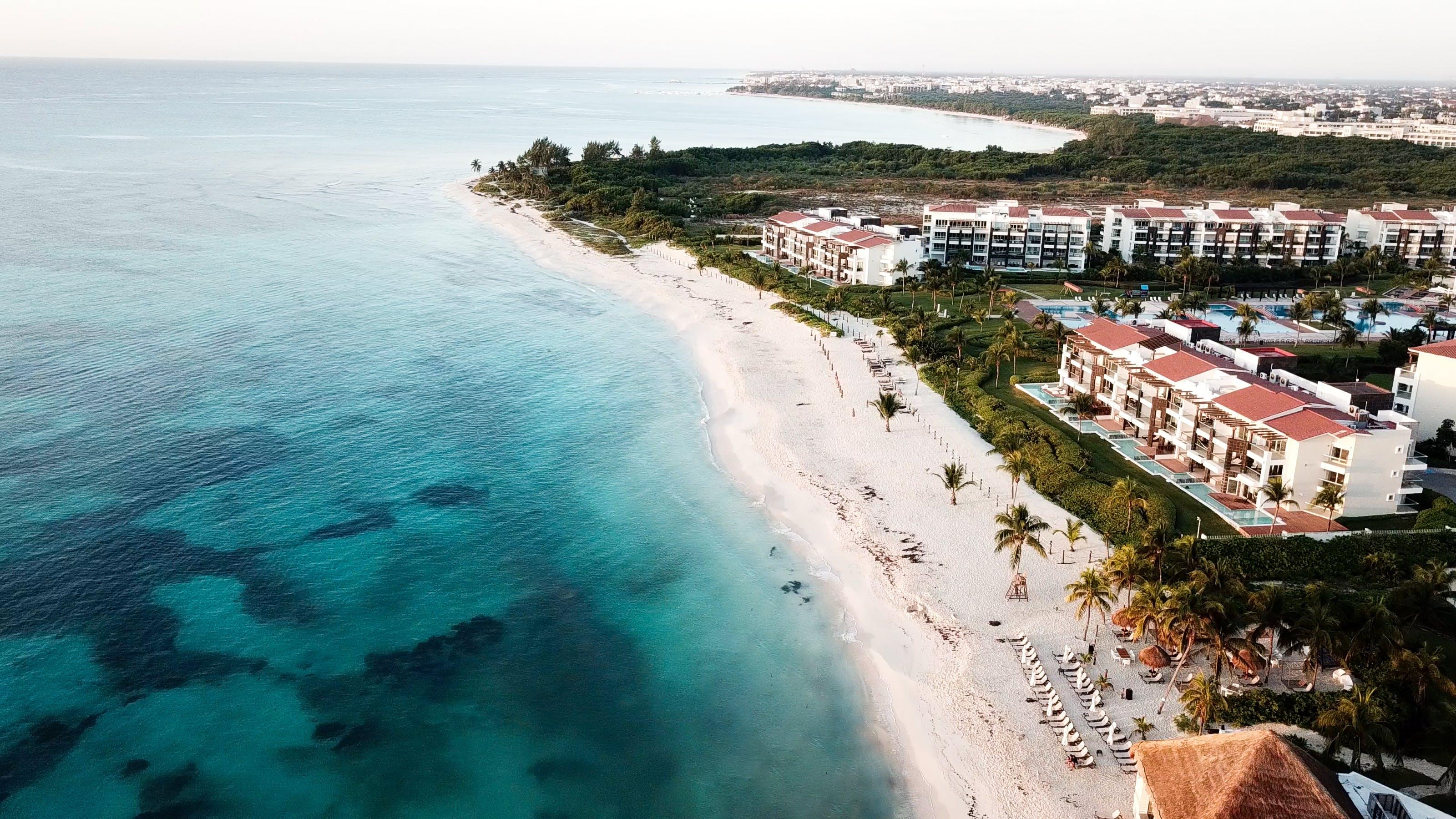 Aerial View of White Sand Beach