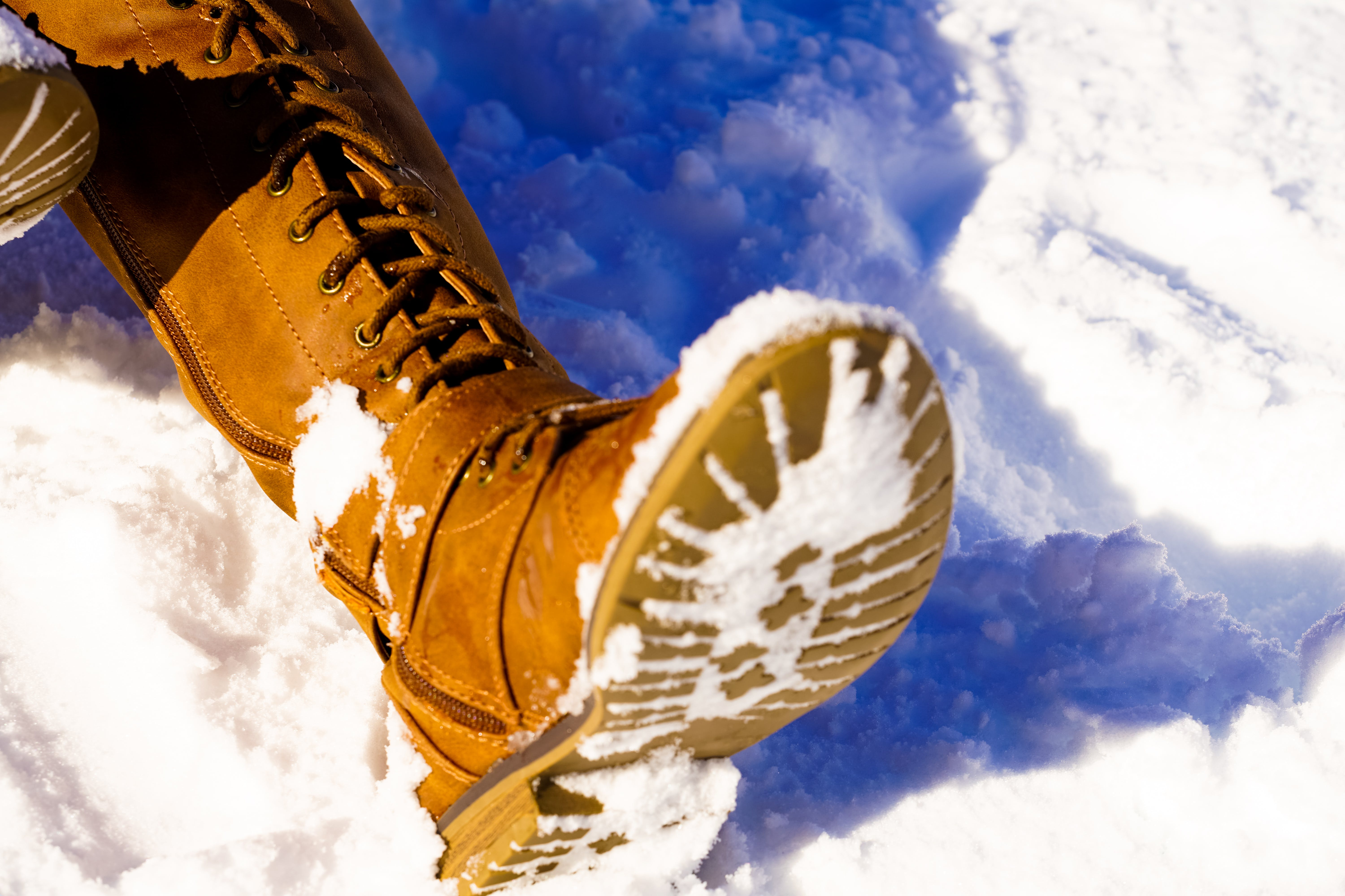 Person's Left Foot on Snowfield