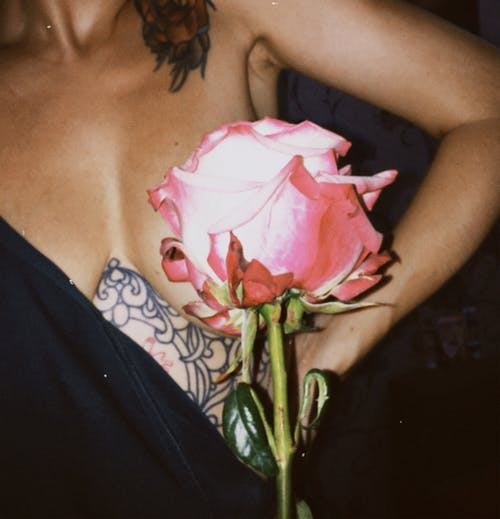 Woman in Black Dress Holding Pink Rose