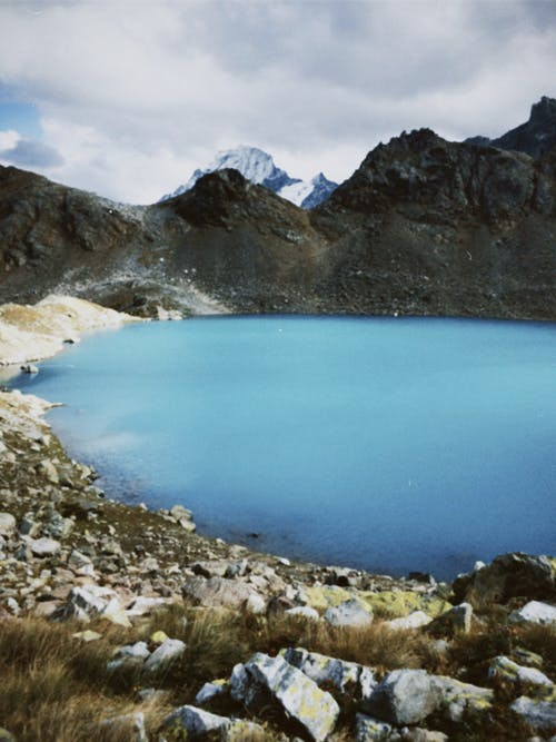 Blue Lake in the Middle of Rocky Mountains