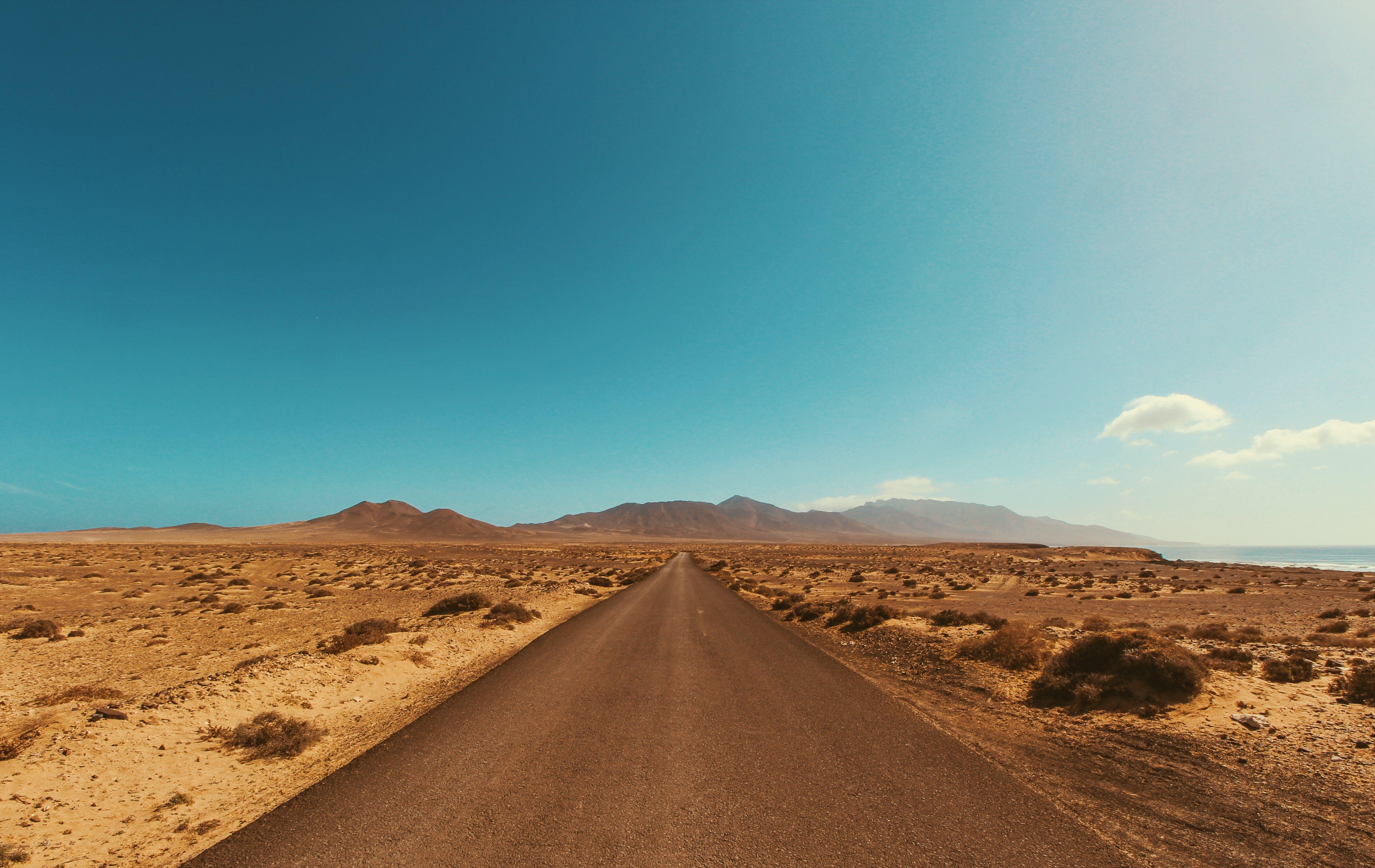 blue skies, desert, deserted