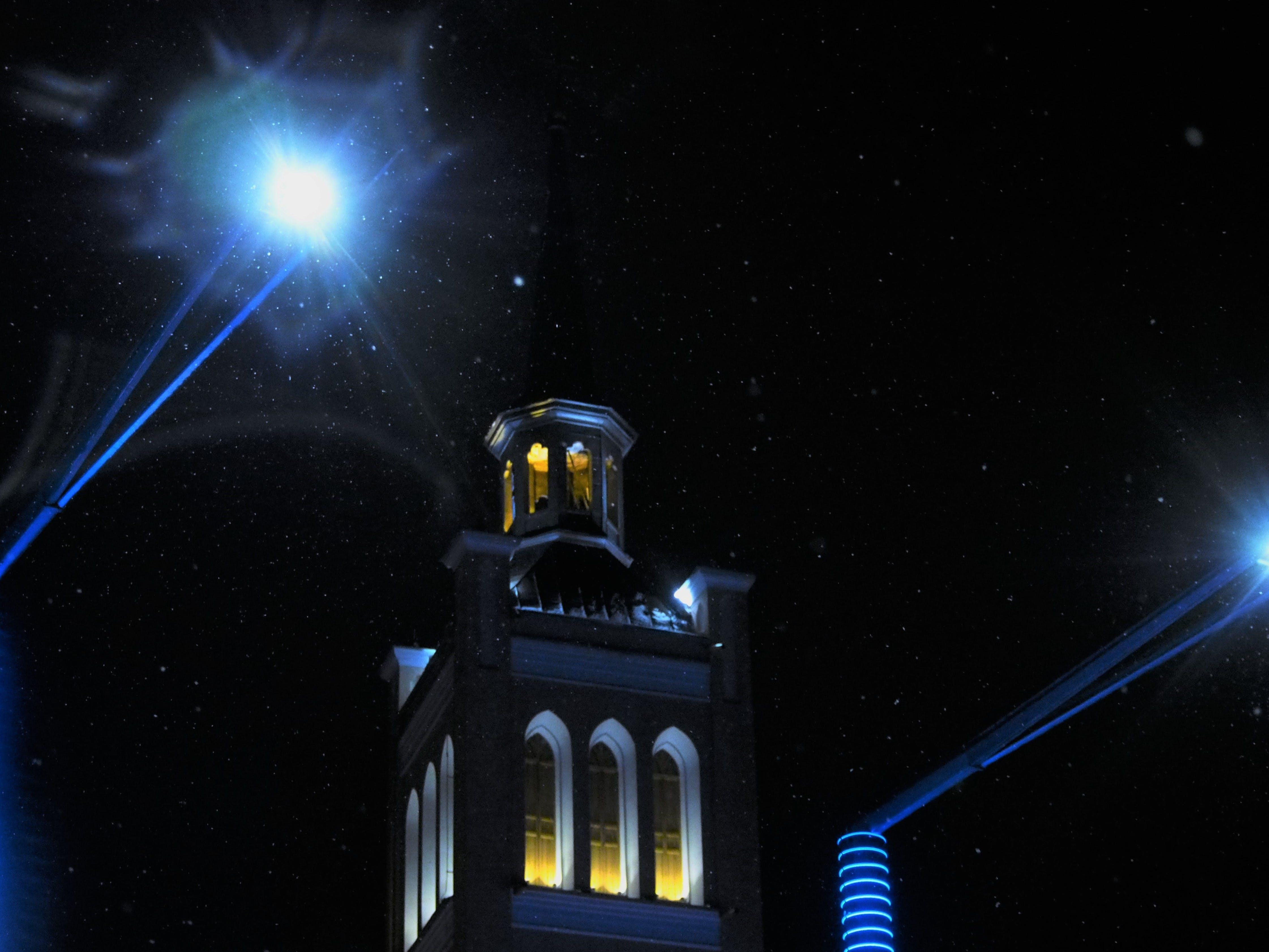 Free stock photo of #blue, #church, #light, #night