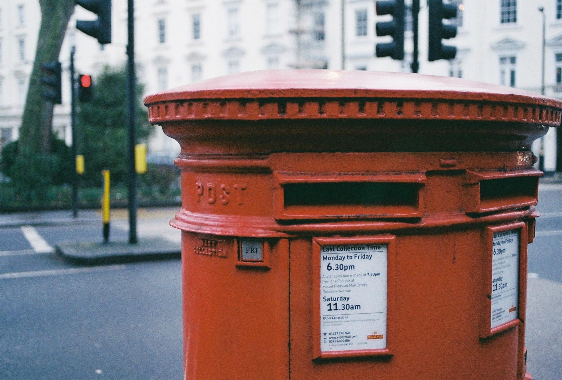 Oblong Brown Metal Mailbox