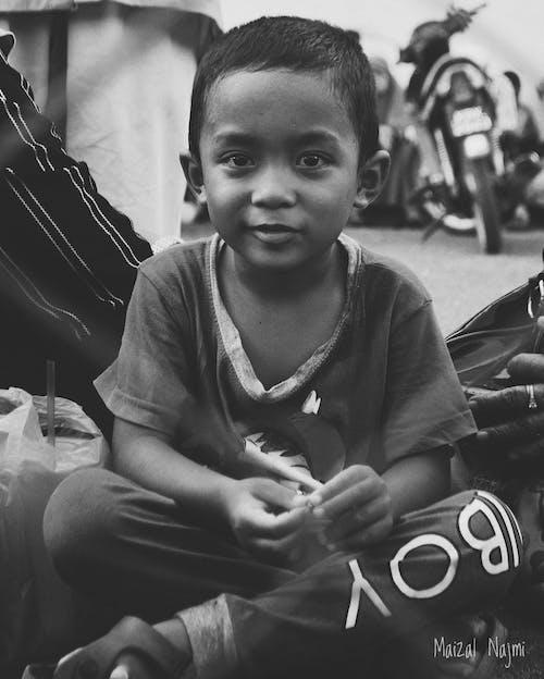 Free stock photo of black and white, little boy, monochrome photography, nikon