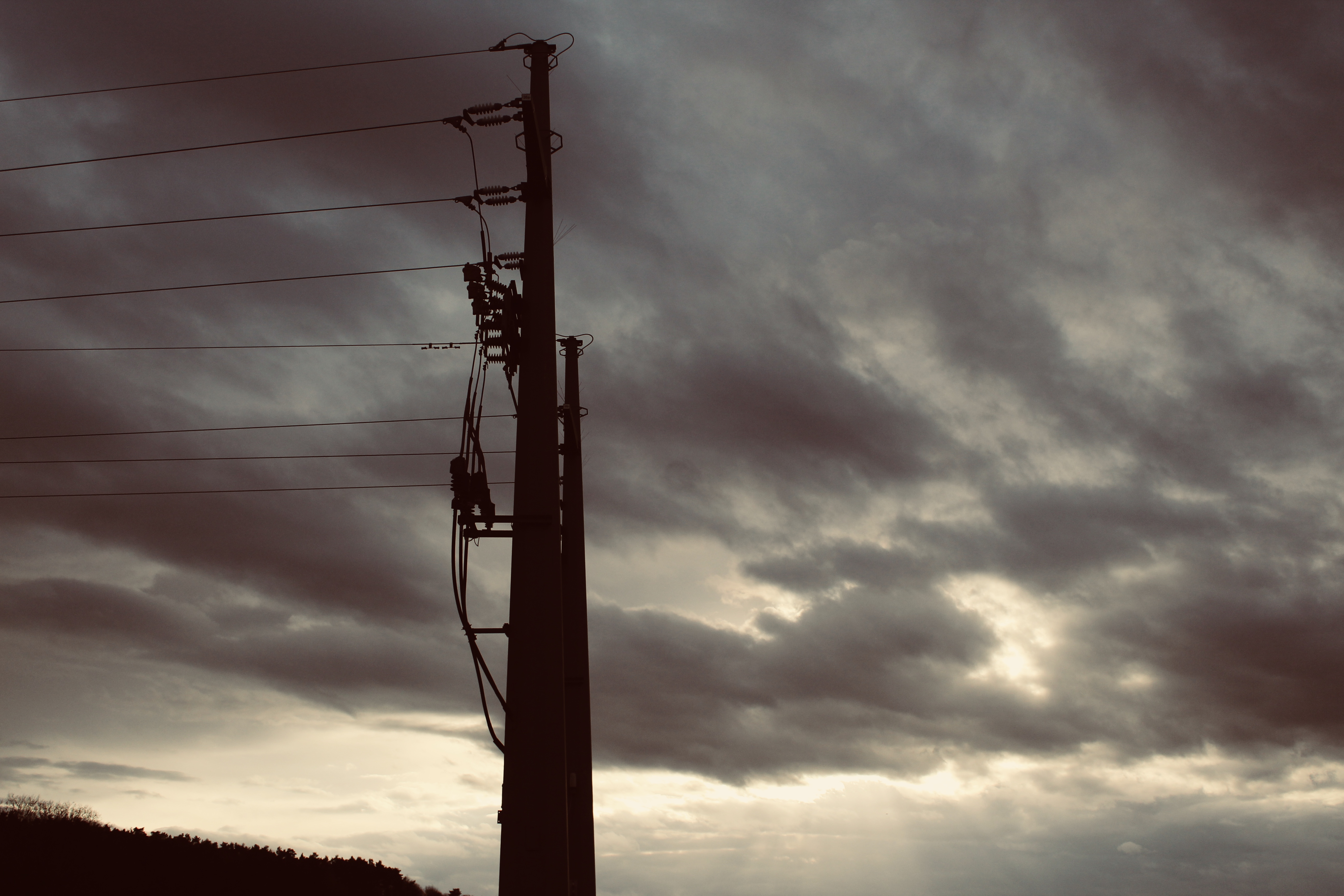 Electric Post Under Gray Sky