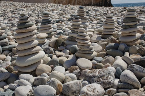 Stack of Gray and Black Stones