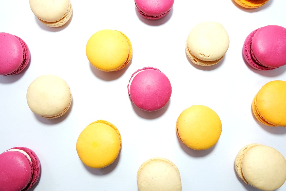 flatlay, godteri, makroner