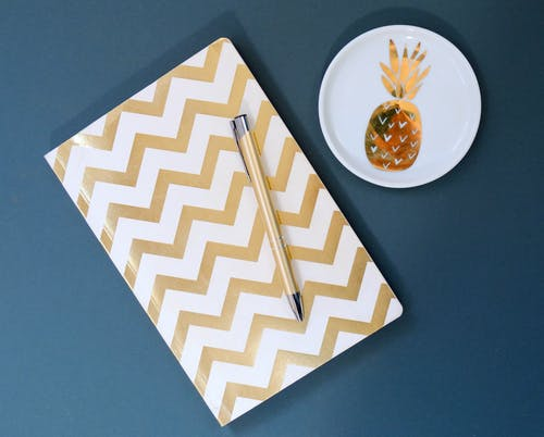 White and Gold Chevron Notebook