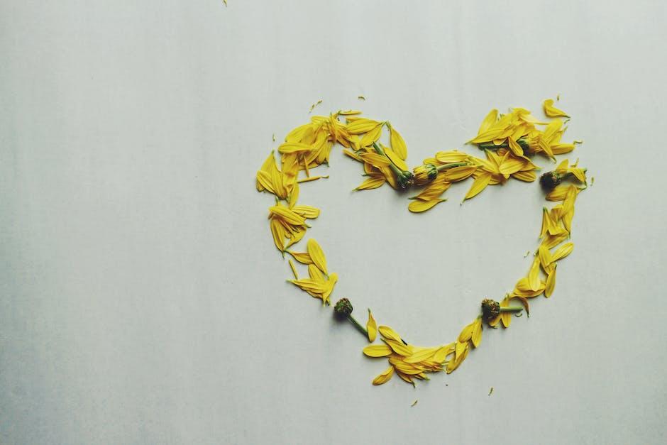Heart shape yellow flower petals