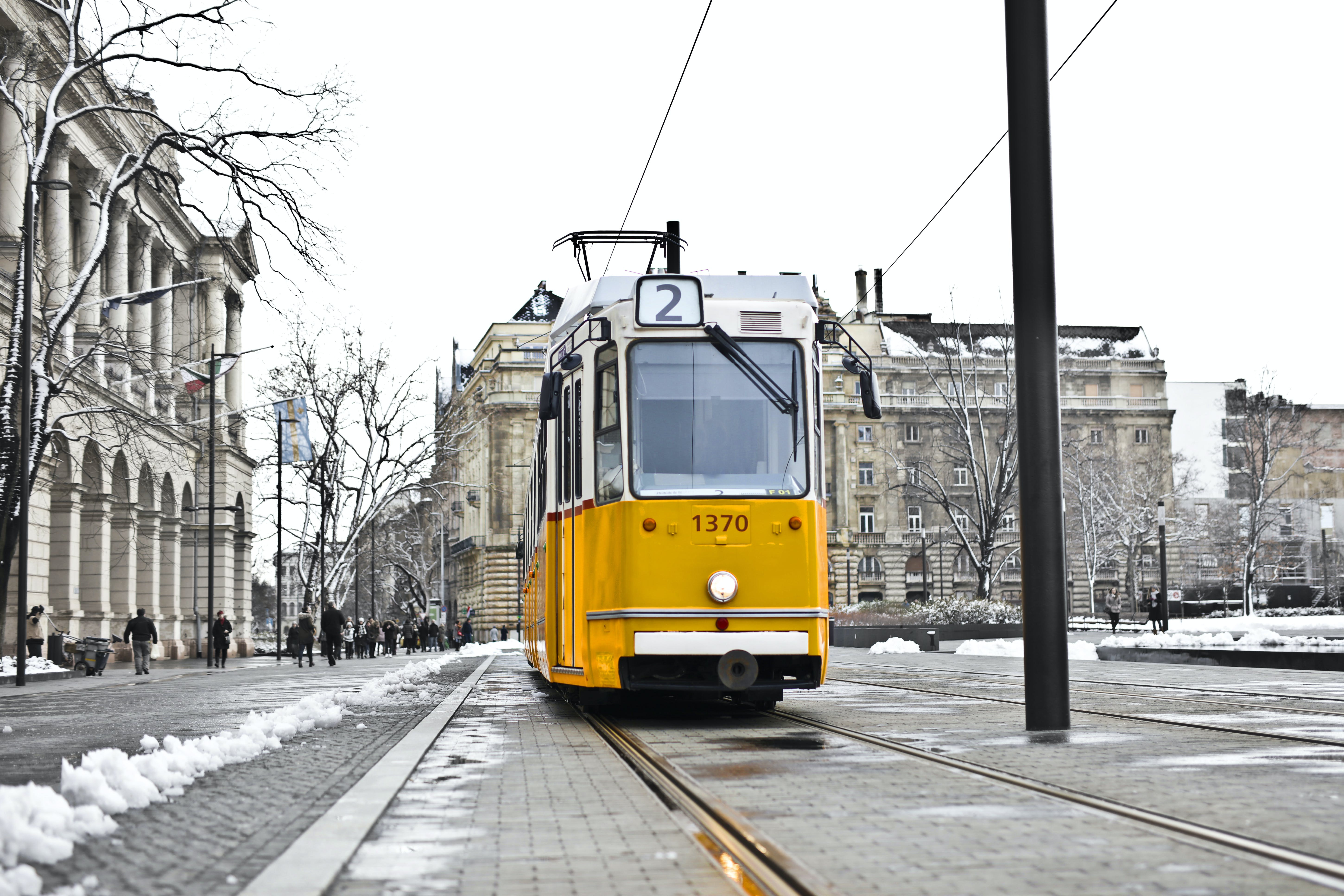 Yellow and White Cable Train