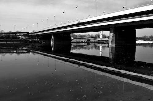 Ảnh lưu trữ miễn phí về đen và trắng, hồ gương, reichsbrã¼cke, sông Danube