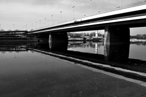 reichsbrücke, 다뉴브강, 미러 호수, 블랙 앤 화이트의 무료 스톡 사진