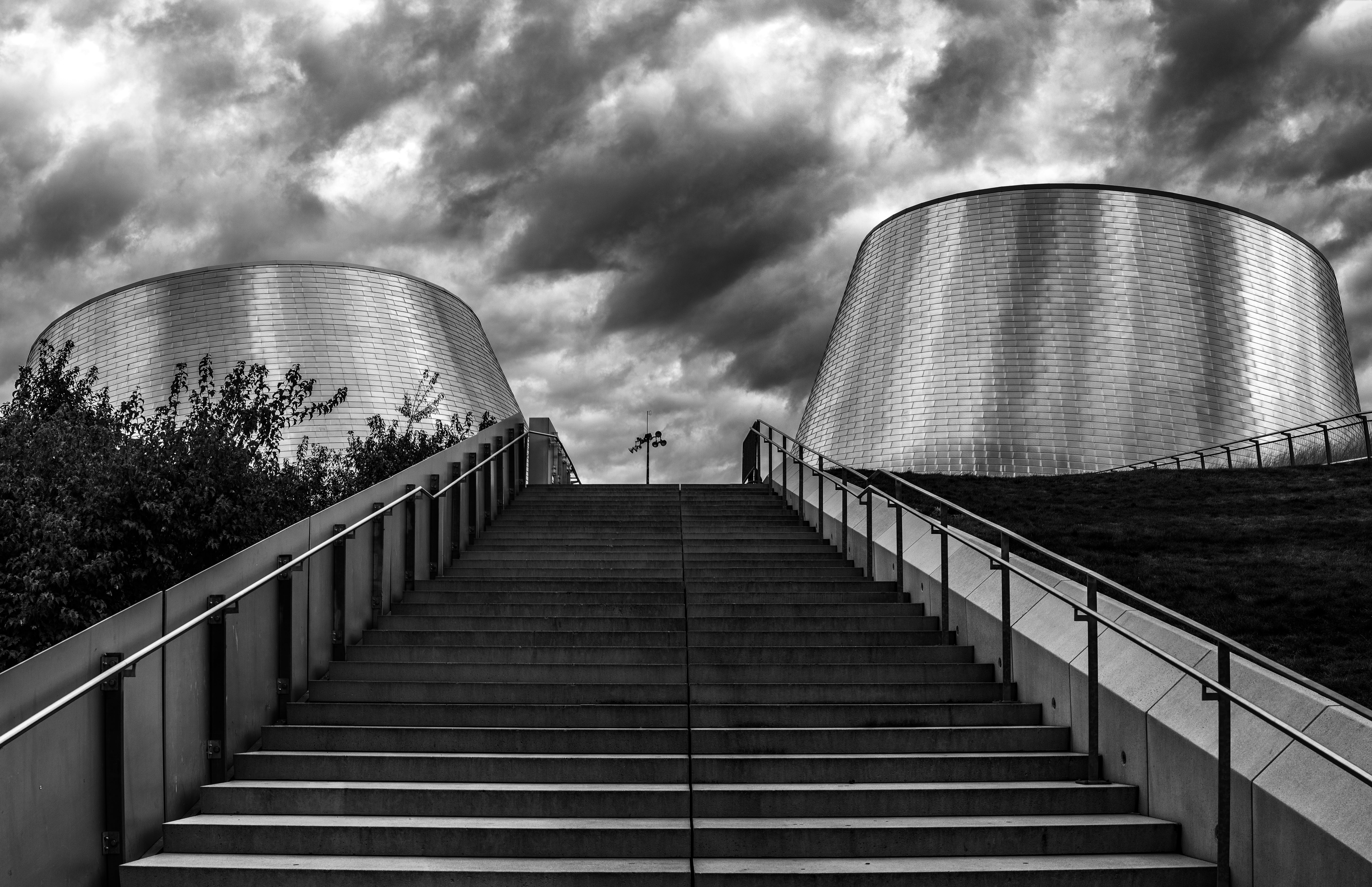 Black and White Cement Stair Photography