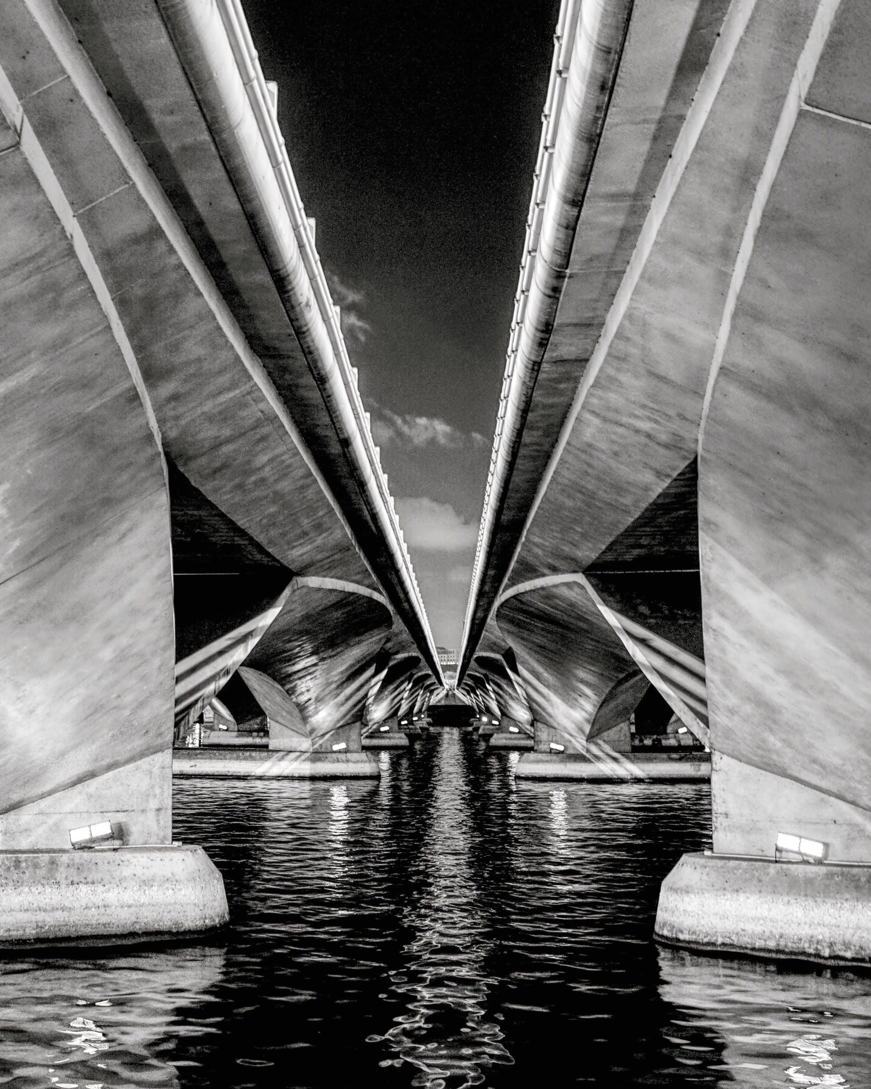 Grayscale Photo of Esplanade Bridge