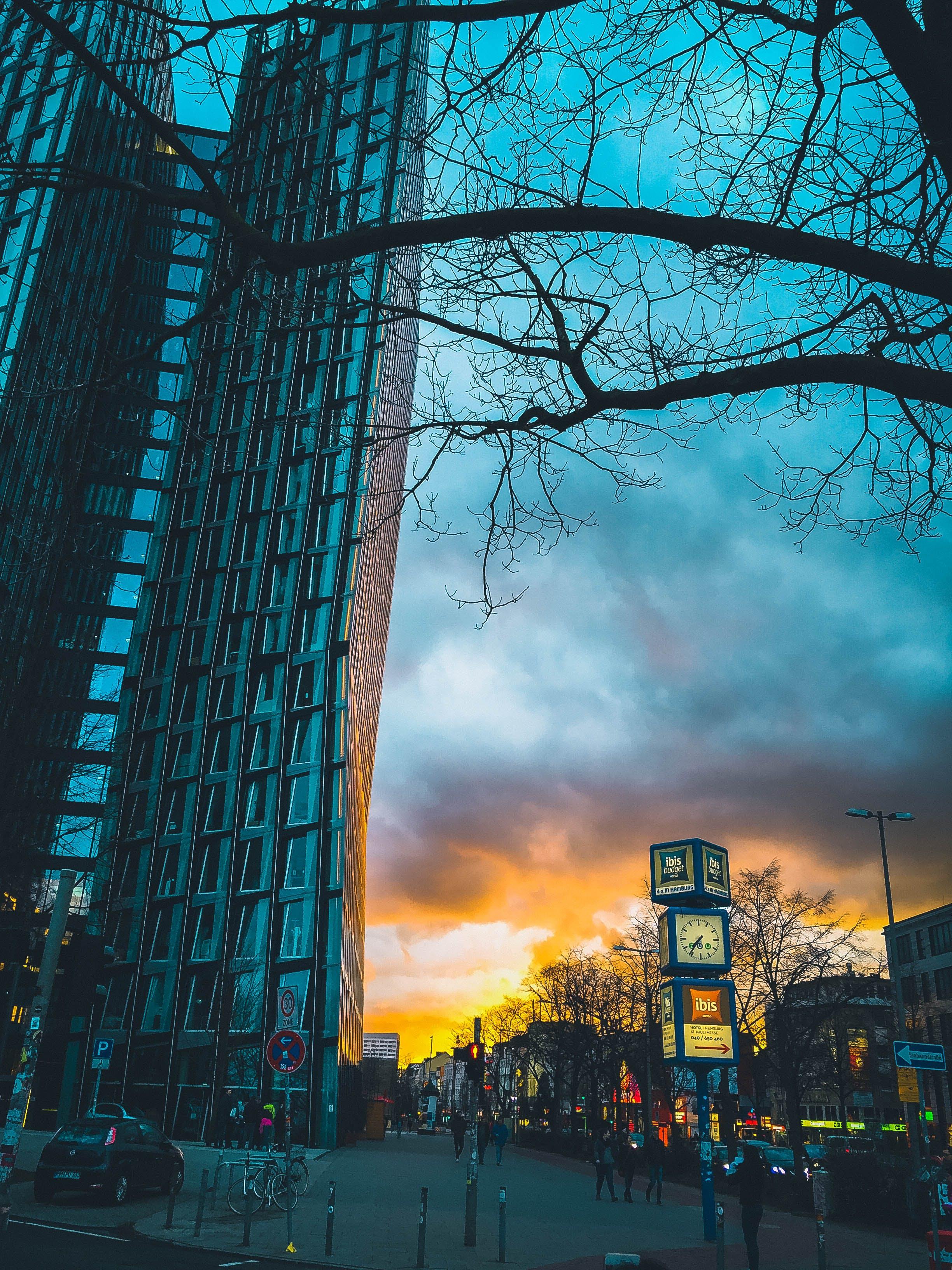 Kostenloses Stock Foto zu abend, architektur, autos, bäume