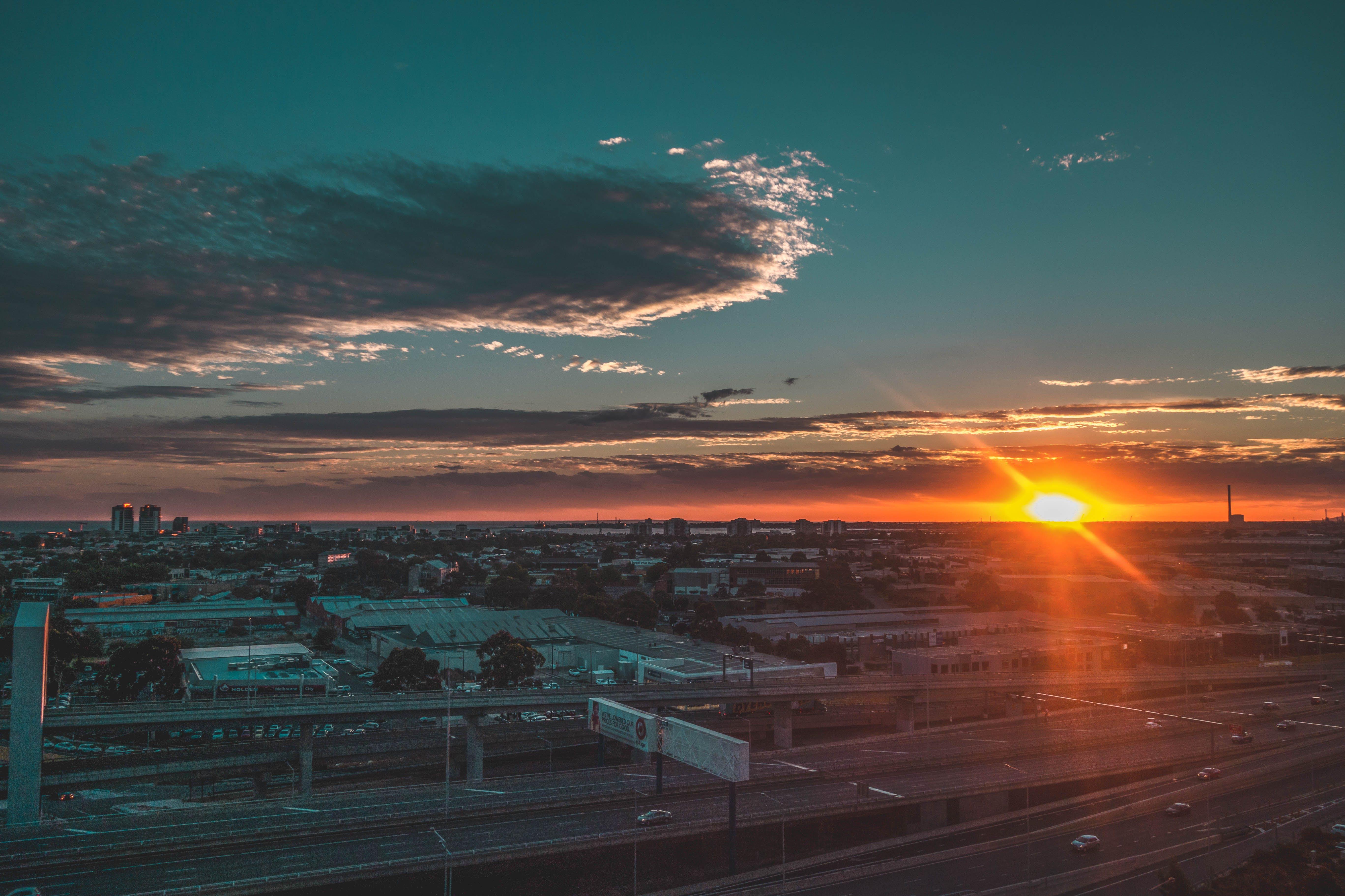 Aerial View of Sunset on Horizon