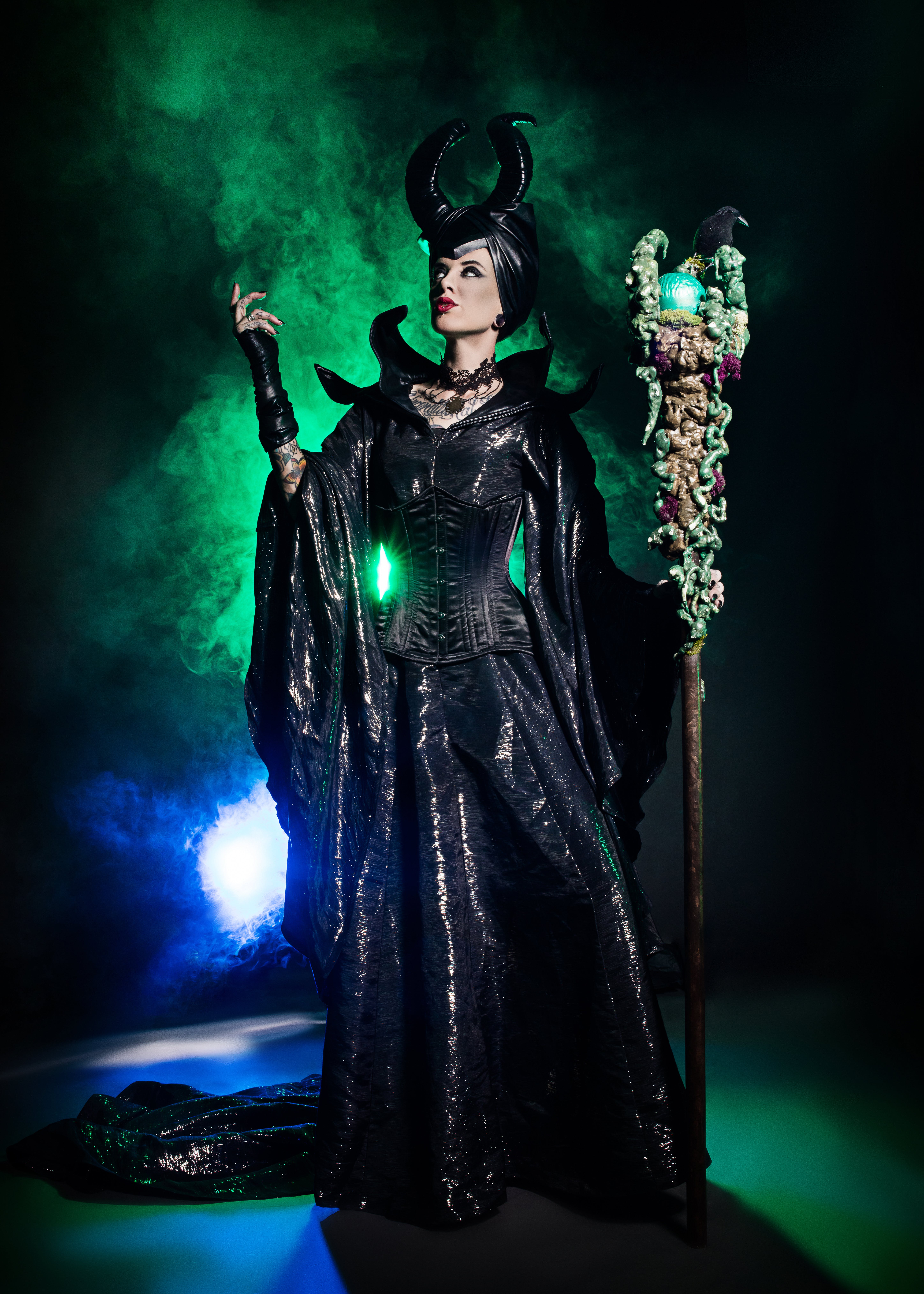 Woman Wearing Maleficent Costume