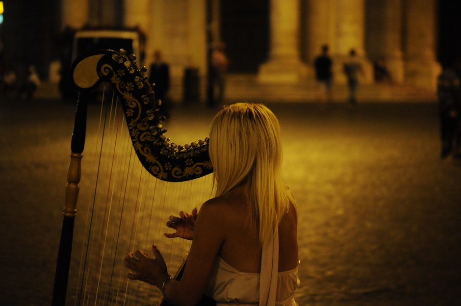harp, lady, music