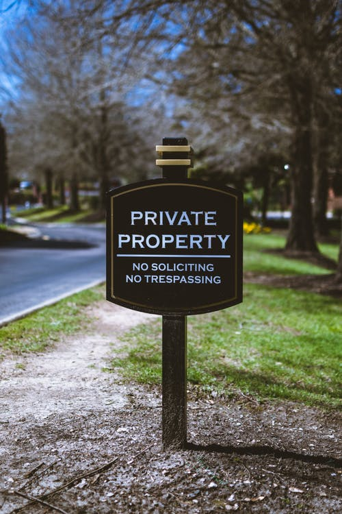 Black and White Private Property Signage