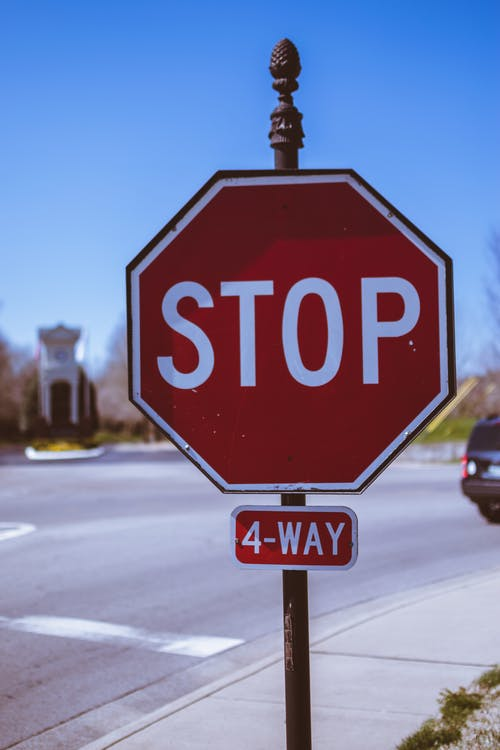 Free stock photo of 4 way, road, sign, stop